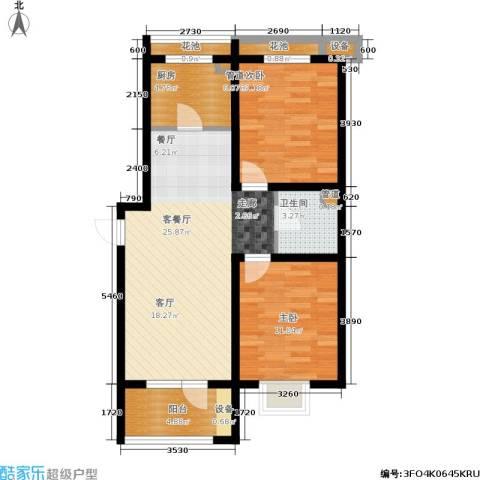 戴河水岸星城2室1厅1卫1厨88.00㎡户型图
