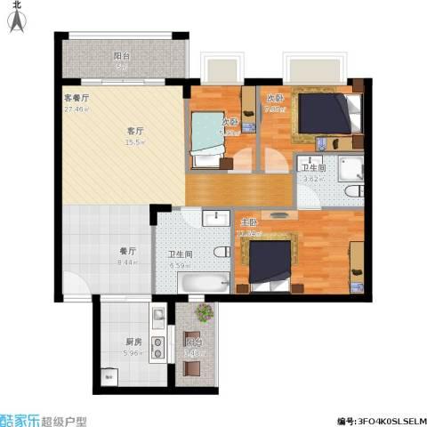 美丽家园3室1厅2卫1厨110.00㎡户型图