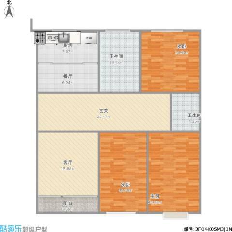 双周小区3室2厅2卫1厨156.00㎡户型图