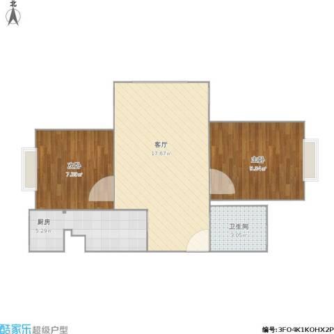 晓月景园2室1厅1卫1厨54.00㎡户型图