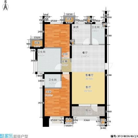 戴河水岸星城2室1厅3卫1厨112.00㎡户型图