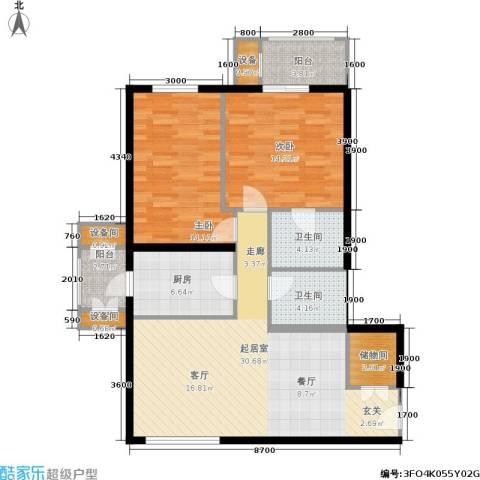 银领国际2室0厅2卫1厨114.00㎡户型图