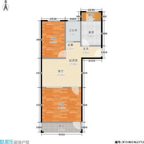 牡丹园东里2室0厅1卫1厨61.66㎡户型图