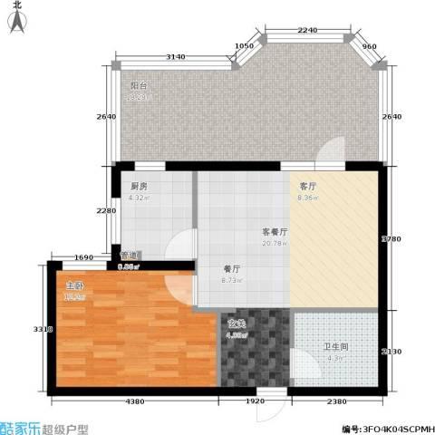 新景家园1室1厅1卫1厨64.00㎡户型图