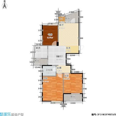 金色家园3室1厅1卫1厨113.00㎡户型图