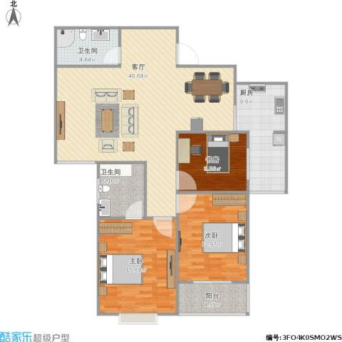 紫郡3室1厅2卫1厨136.00㎡户型图