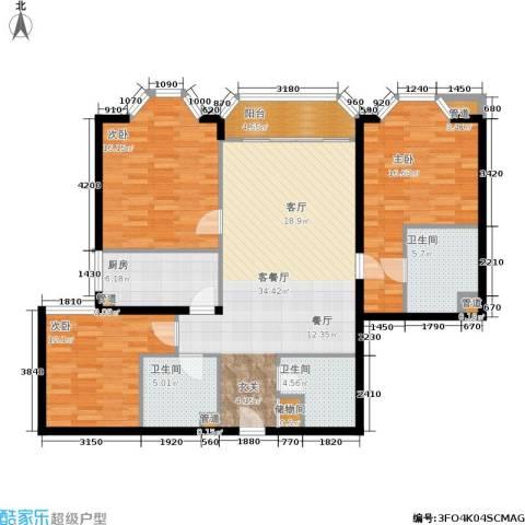 新景家园3室1厅3卫1厨120.00㎡户型图
