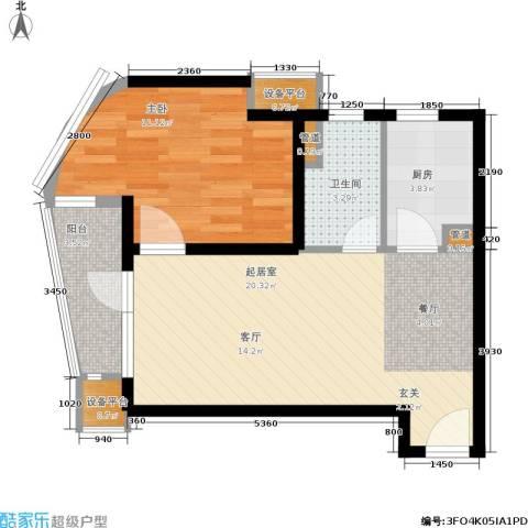 山海同湾1室0厅1卫1厨65.00㎡户型图