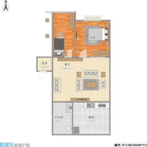 金光小区2室1厅1卫1厨86.00㎡户型图