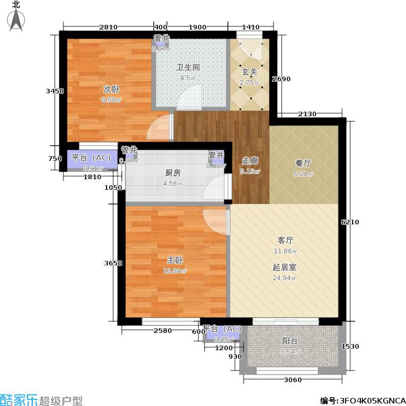金隅汇景苑86.00㎡2、3号楼中间户B-3户型