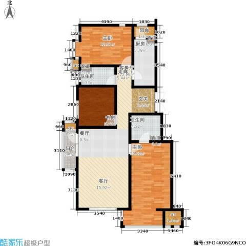 涧桥山3室1厅2卫1厨122.00㎡户型图