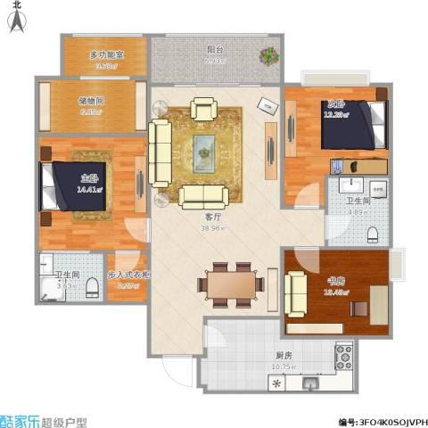 红地苑3室1厅2卫1厨155.00㎡户型图
