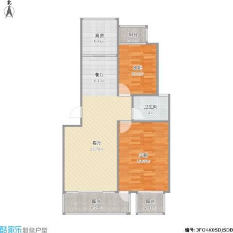 云锦美地2室1厅1卫1厨99.00㎡户型图