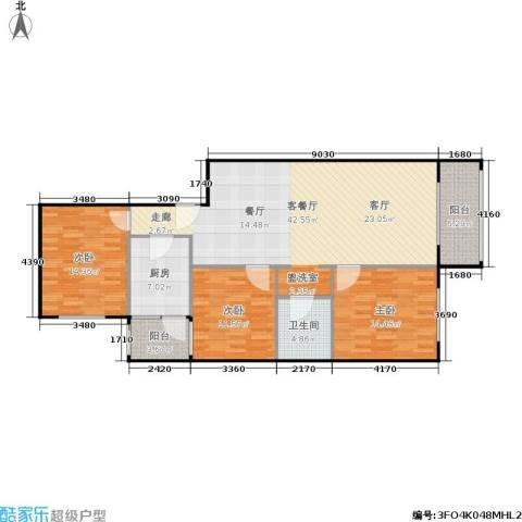 椿树园3室1厅1卫1厨140.00㎡户型图