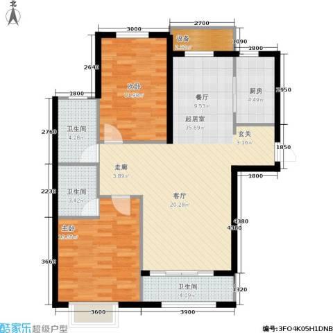 金屋·秦皇半岛2室0厅3卫1厨110.00㎡户型图