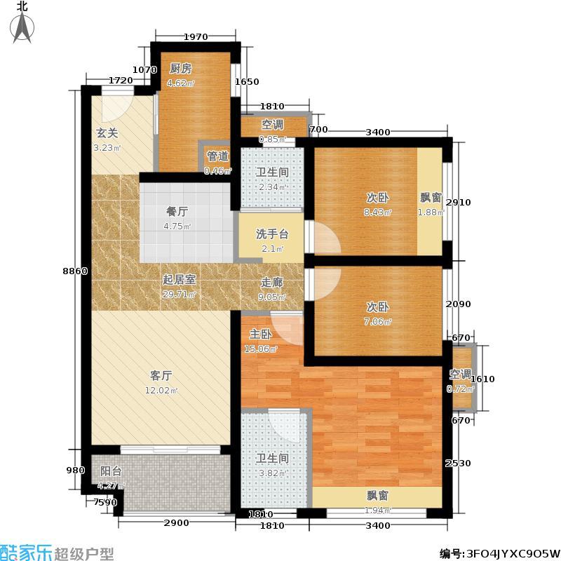 万科金域中央90.00㎡06单元3室户型
