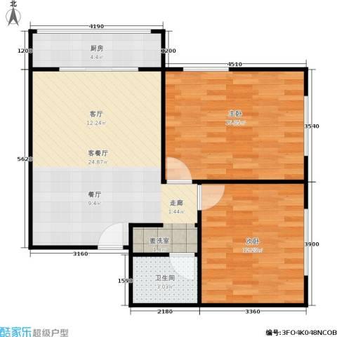 椿树园2室1厅1卫1厨80.00㎡户型图