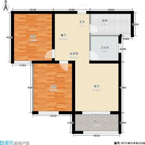 大通君澜2室0厅1卫1厨82.00㎡户型图
