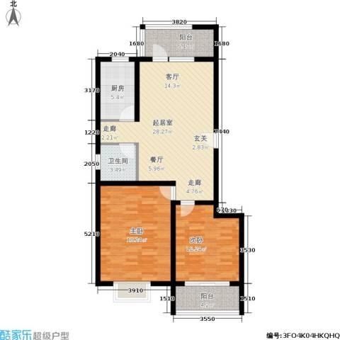 大通君澜2室0厅1卫1厨88.00㎡户型图