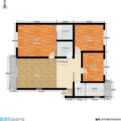 天通苑北二区3室1厅2卫1厨120.00㎡户型图