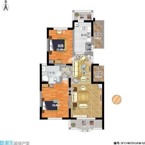 金苹果花园2室1厅1卫1厨112.00㎡户型图