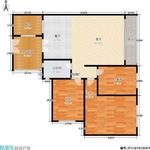 万科金色康苑3室1厅1卫1厨85.00㎡户型图