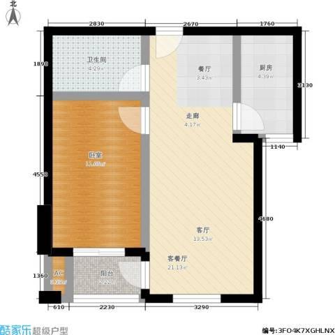 长城・都市阳光二期1厅1卫1厨64.00㎡户型图