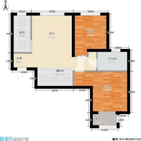 众美城2室0厅1卫1厨75.00㎡户型图
