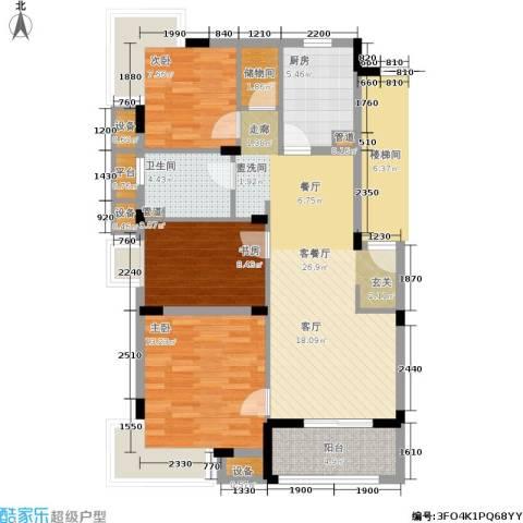 港城滴水湖馨苑3室1厅1卫1厨87.00㎡户型图
