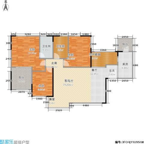 万科蓝山3室1厅2卫1厨128.00㎡户型图