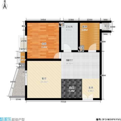 水上华城1室1厅1卫1厨79.00㎡户型图