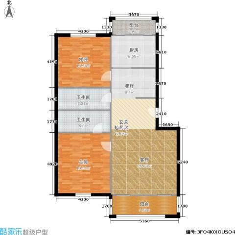 天通苑北二区2室0厅2卫1厨126.00㎡户型图