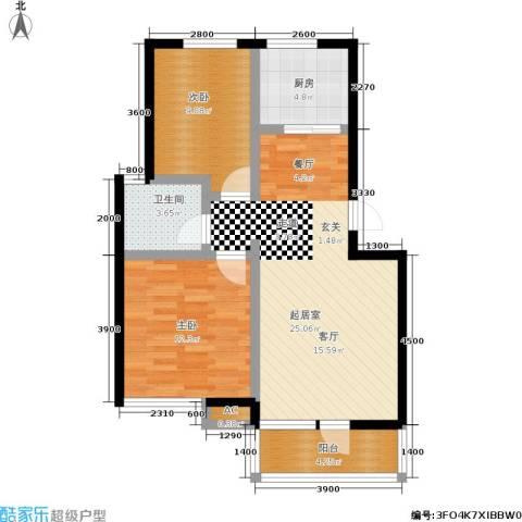 长城・都市阳光二期2室0厅1卫1厨87.00㎡户型图
