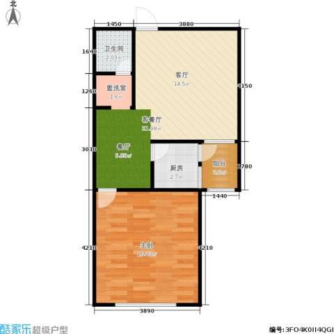 椿树园1室1厅1卫1厨60.00㎡户型图