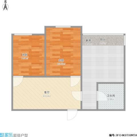 欣豪凤凰城2室1厅1卫1厨67.00㎡户型图