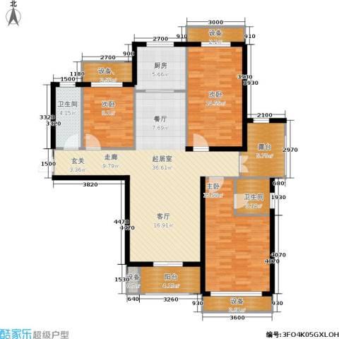 金屋·秦皇半岛3室0厅2卫1厨121.00㎡户型图