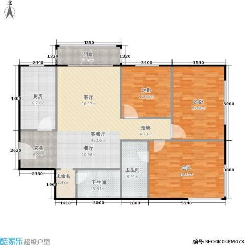 椿树园3室1厅2卫1厨154.00㎡户型图