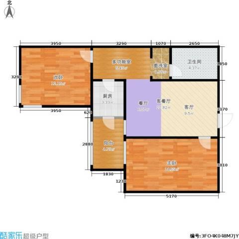 椿树园2室1厅1卫1厨84.00㎡户型图