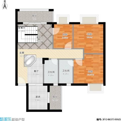 美丽家园北区3室1厅2卫1厨110.00㎡户型图