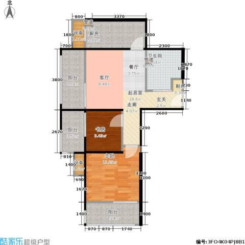 鸿坤·原乡溪谷2室0厅1卫1厨76.00㎡户型图
