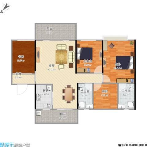 中源明珠4室1厅2卫1厨141.00㎡户型图