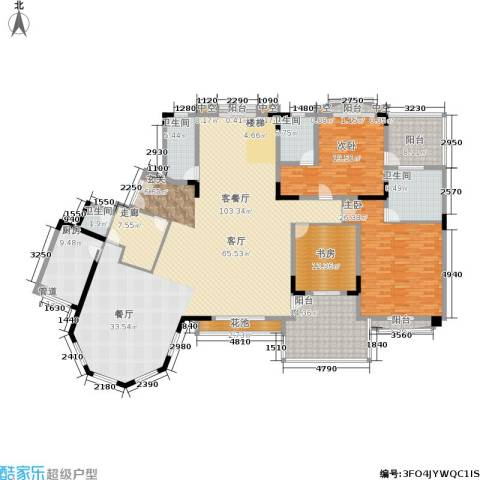 金海岸花园・聚湖3室1厅4卫1厨466.00㎡户型图