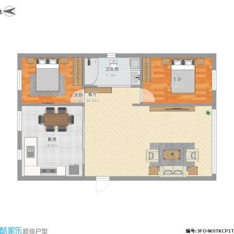 托斯卡纳2室1厅1卫1厨103.00㎡户型图