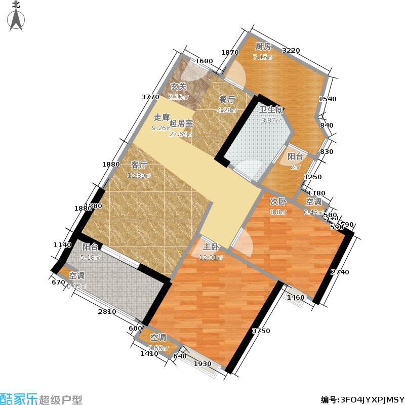 珠江嘉园78.00㎡10栋A梯03单元2室户型