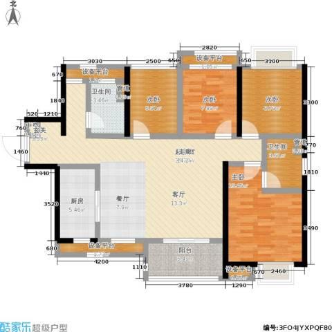 南海万科广场4室0厅2卫1厨113.00㎡户型图
