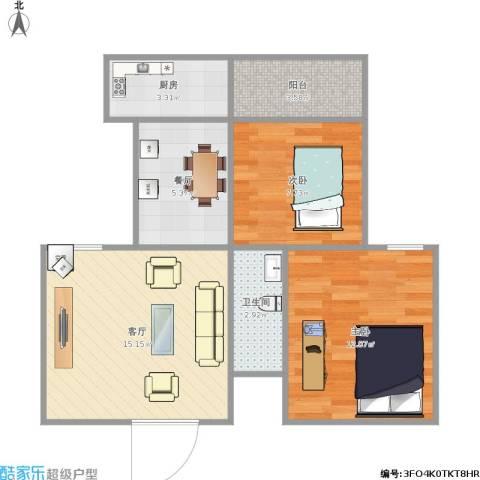 西铁小区2室2厅1卫1厨68.00㎡户型图