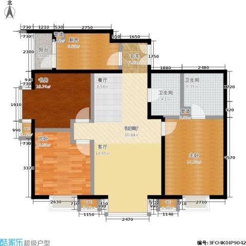 水上华城3室1厅2卫1厨124.00㎡户型图