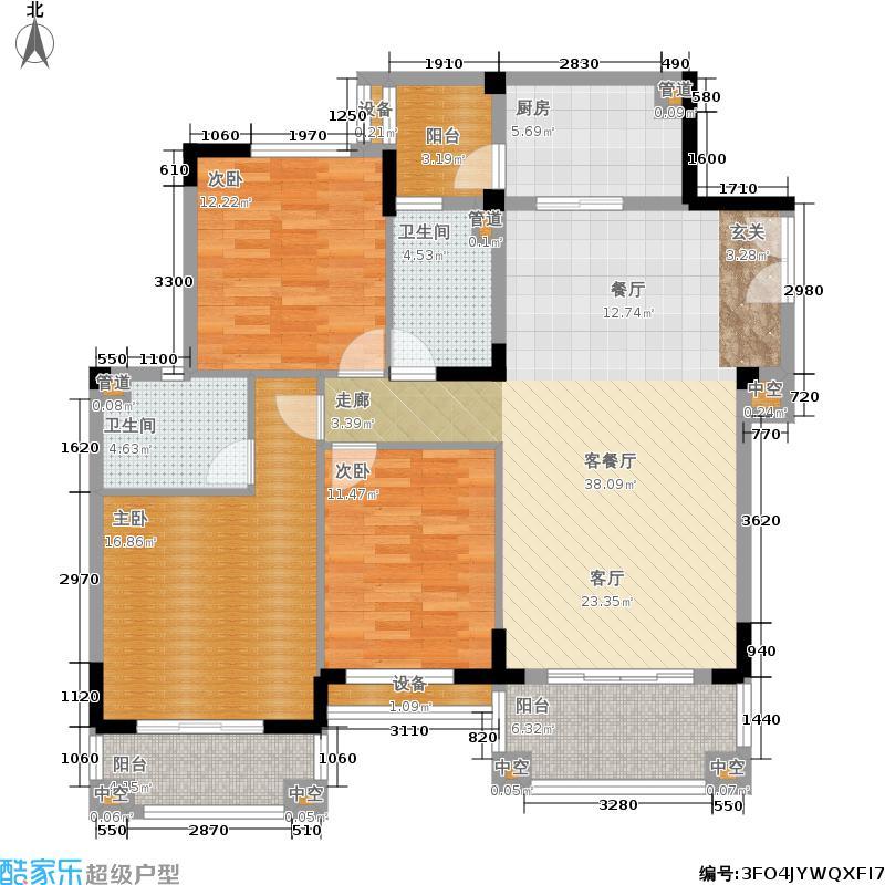 金海岸花园聚湖124.20㎡金海岸花园・聚湖A4标准层户型