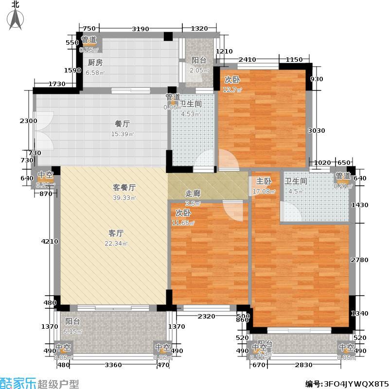 金海岸花园聚湖123.54㎡金海岸花园・聚湖A5标准层户型