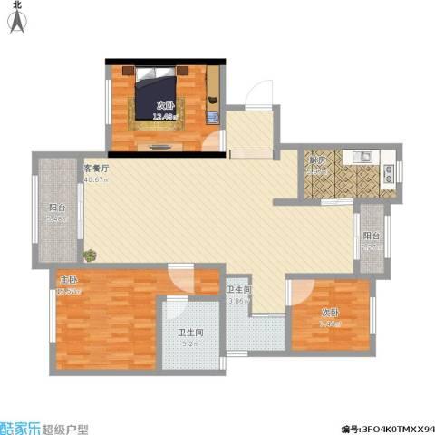 南行达苑3室1厅2卫1厨141.00㎡户型图